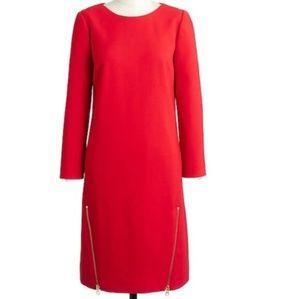 J. Crew sz 6 p red Double-Zip Shift Dress.